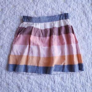 LOFT Linen Blend Striped Skirt with Pockets